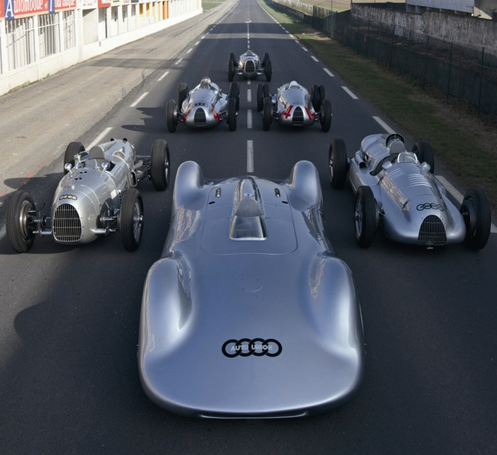 Auto Union Silver Arrows In Starting Position At The Legendary Racetrack Of Reims