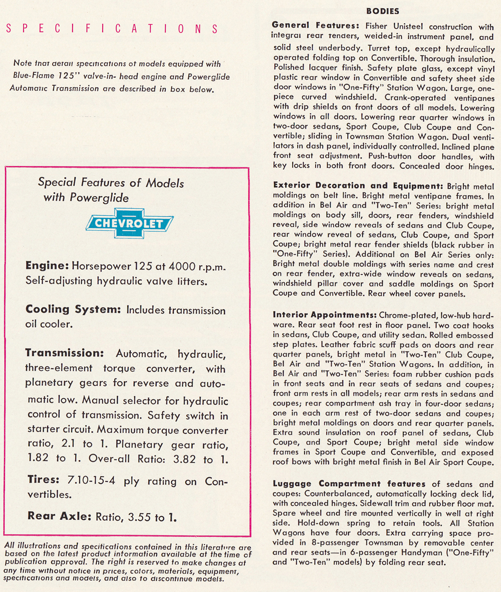 19501954 Chevrolet Bel Air Starting Circuit Diagram For The 1953 54 Cadillac All Models Power Steering Was Optional 1954 Added Brakes Seat Positioner And Front Windows Cars With Stick Shift Used