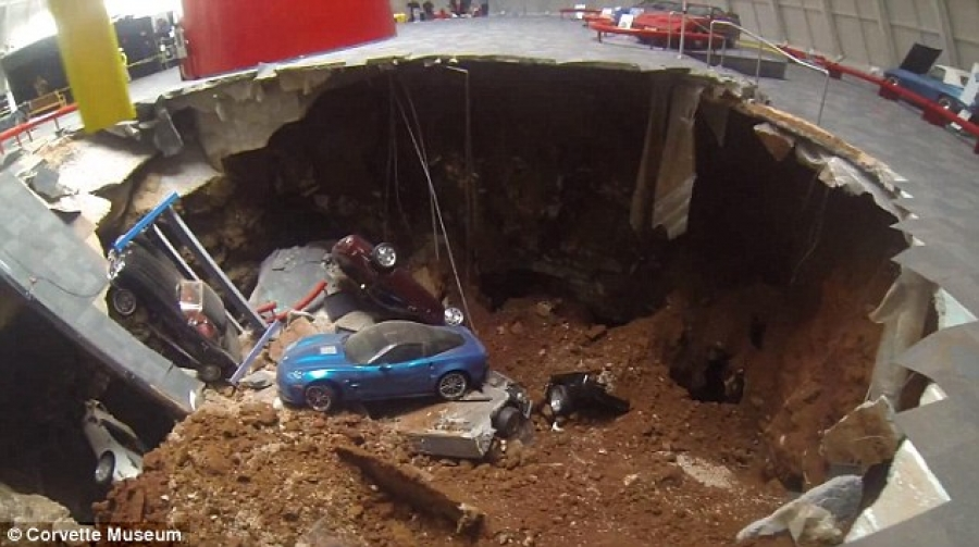 Sinkhole Collapses At National Corvette Museum Eight