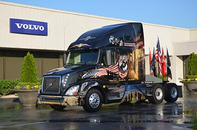 Volvo's New River Valley assembly plant in Dublin, Virginia unveiled the design for its 2014 rolling memorial truck, which will travel in a motorcade from the plant to the U.S. capital during Memorial Day weekend.