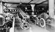 Early Model T assembly at Highland Park Plant.