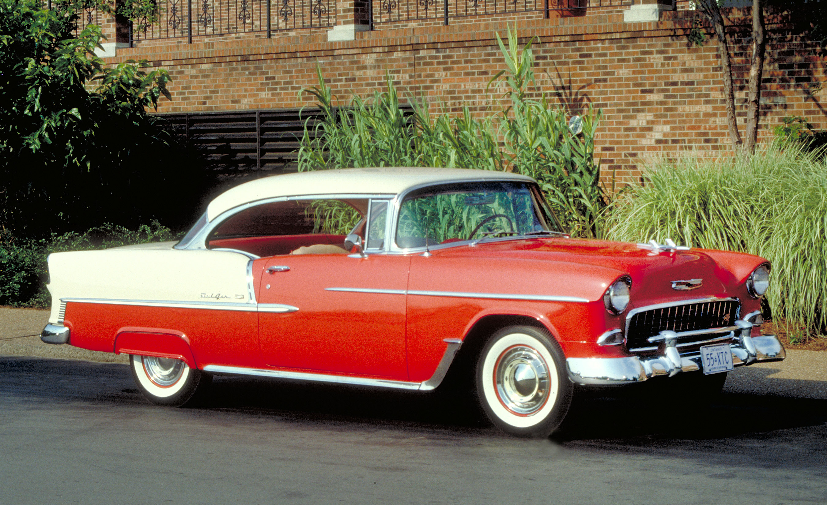 The all-new 1955 Bel Air wonderfully redefined Chevrolet, with its sleek ÒMotoramicÓ styling, improved chassis and sizzling new 265-cid ÒTurbo-FireÓ V-8 Ð the first of Chevy's legendary small-block V-8s.