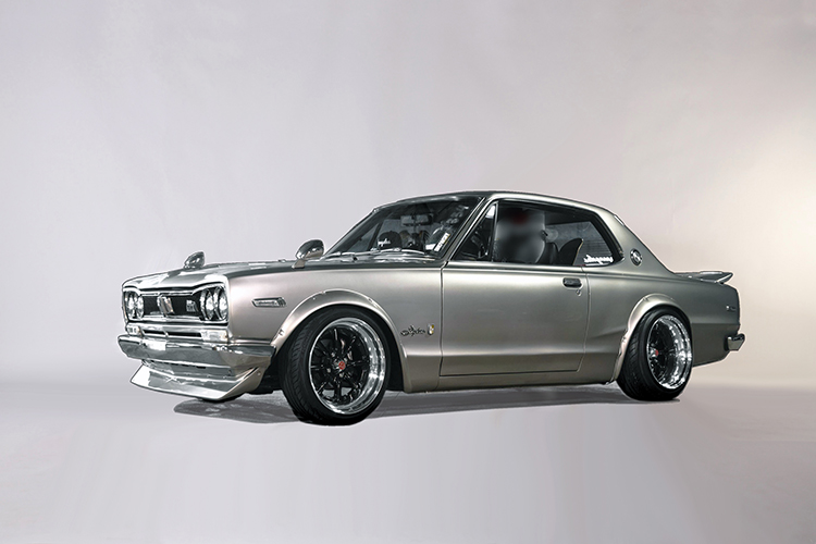 "This is a modified version of the legendary ""Hakosuka"" Skyline (""Boxy Skyline"") – a tribute GT-R, privately owned. Introduced in 1969, this generation of GT-R, with its DOHC 24-valve 6-cylinder S20 powerplant, cemented the model as a legend, with 52 race victories in Japanese touring car competition, in the 1960s and 1970s."
