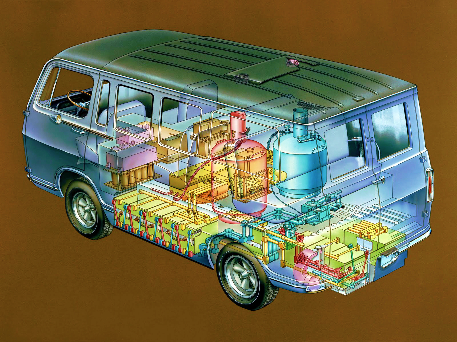The General Motors Electrovan celebrates its 50th anniversary as the world's first hydrogen-power fuel cell vehicle in October. It was the first transfer of fuel cell technology from President John F. Kennedy's challenge to NASA to safely land a man on the moon by the end of the 1960s. This technical art shows the Electrovan's interior crammed with fuel cell componentry that left room for only a driver and two passengers.